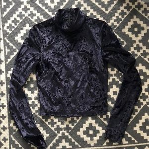 Black Crushed Velvet Mock Neck Crop Top